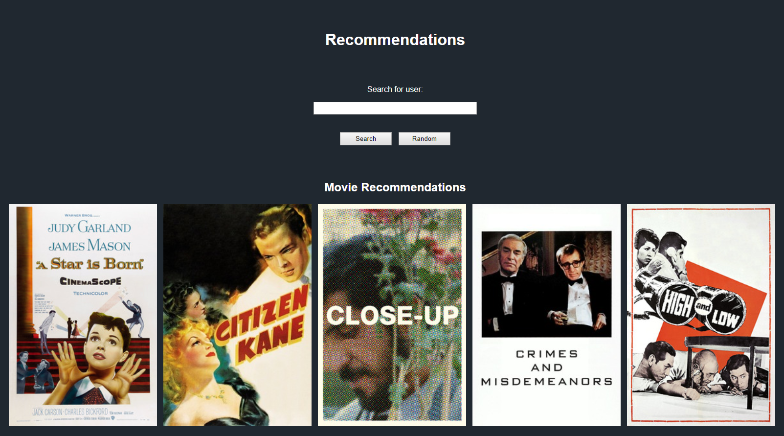 Letterboxd Movie/User Recommender